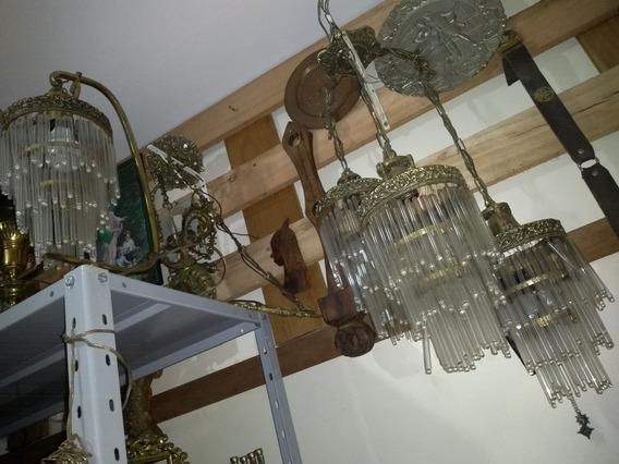 Antigo Conjunto Lustre E Abajur De Bronze E Cristal