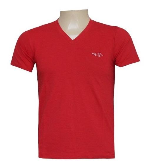 Camisa Gola V Hollister Vermelho