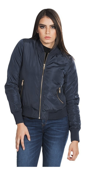 Chamarra Mujer Bomber Jacket Casual Vestir Azul Q83211