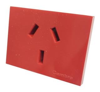Pack X 10un Toma Corriente C/tierra 10 Amp 7604 Cambre Rojo