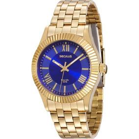 Relógio Seculus Feminino Dourado Azul Original 25540lpsvda1
