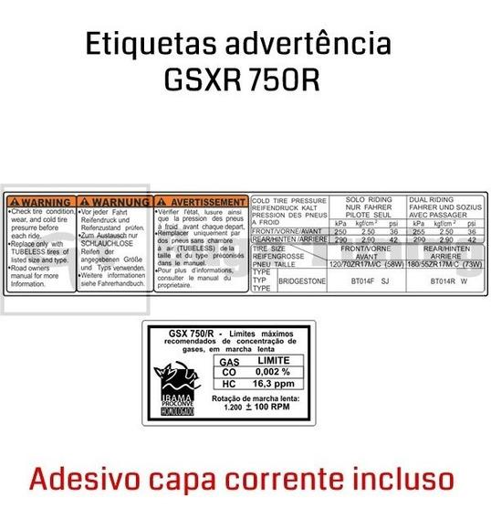 Adesivo Suzuki Gsxr Srad 750 Advertência + O Da Corrente