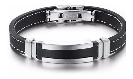 Pulseira Bracelete Masculina Silicone E Aço Inoxidável