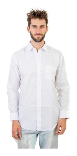 Imagen 1 de 1 de Camisa Hombre Vestir Bolsillo Oficina Manga Larga Olegario