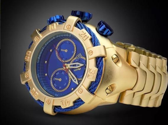 Relógio Aço Inox Dourado Fosco Fundo Azul Catraca Giratoria