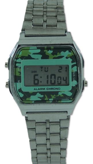 Relógio Retro Prata Camuflado Digital Pulseira De Aço Cronometro Calendário Alarme Unissex