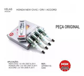 Jogo 4 Velas Honda New Civic Iridium/platina Ngk Izfr6k-11