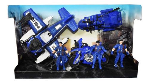 Set Policia Grande Con 3 Soldados En Caja Full - 10026