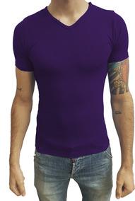 Camiseta Slim Fit Masculina Básica Gola V Viés Viscolycra