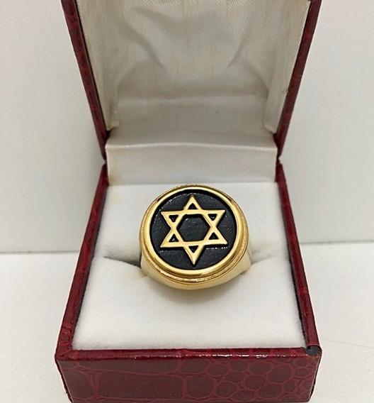 Anel Estrela De Davi Masculino Banhado A Ouro 18k Aço