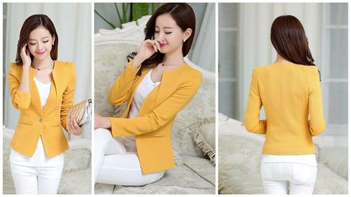 Blazer Amarillo Jacket Fashion Mujer Casual Slim Coat Outwea