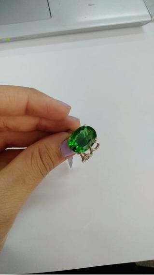 Anel De Prata Pedra Obsidiana Verde