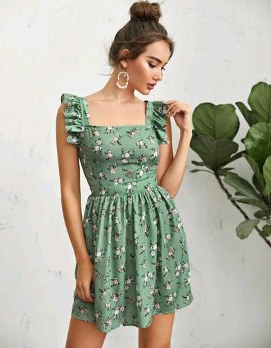Imagen 1 de 4 de Vestido Estampado Floral, Abertura En Espalda