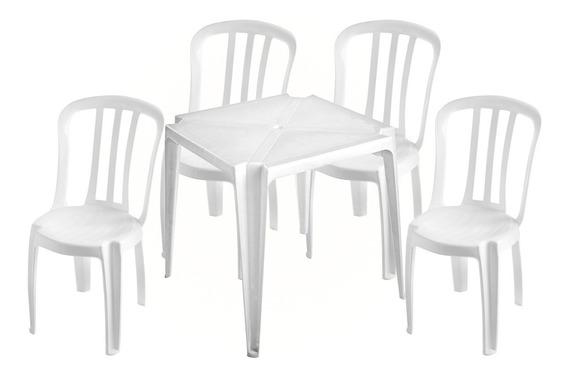 Jogo De Mesa Com 4 Cadeiras Bistrô Branca