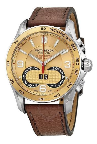 Relógio Victorinox 241617 Chrono Classic Prata Dourado Couro