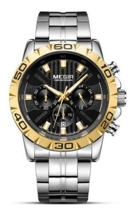 Relógio Masculino Megir 2087 Luxo Original Aço Inox + Frete