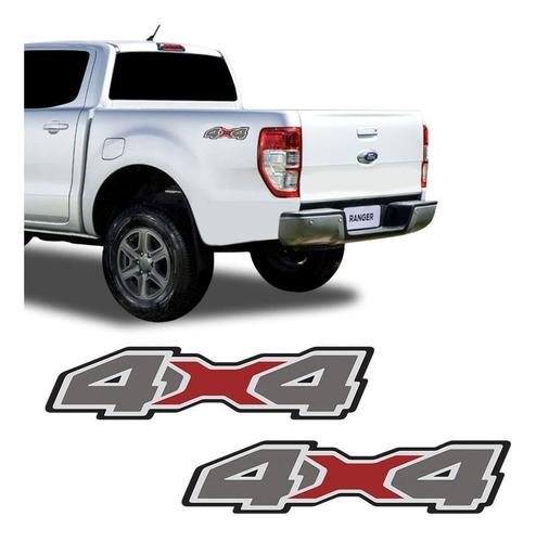 Imagem 1 de 5 de Par Emblema Adesivo Lateral 4x4 Ford Ranger 2020 Grafite