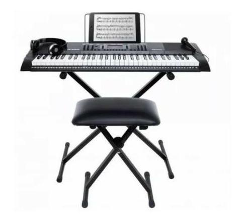 Kit Teclado Musical Iniciantes Alesis C/ Fone+banco+suporte