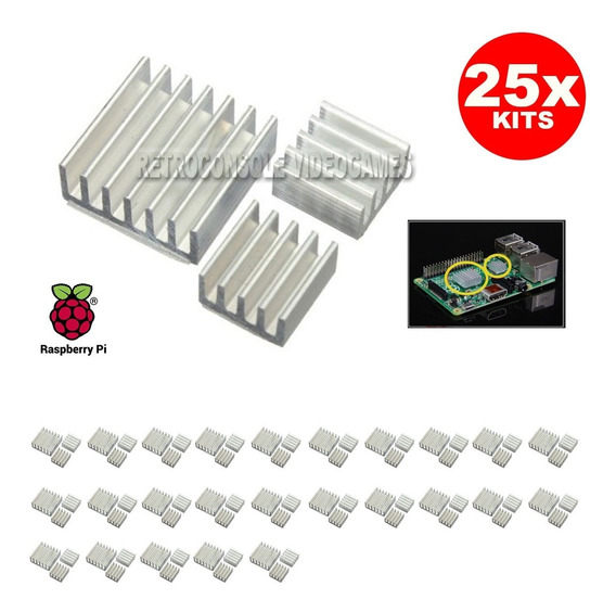 25x Kit C/ 3 Dissipadores De Calor Para Raspberry Pi 3 B B+