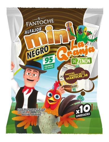 Imagen 1 de 9 de Mini Alfajor Chocolate Fantoche La Granja De Zenon X10 Mini