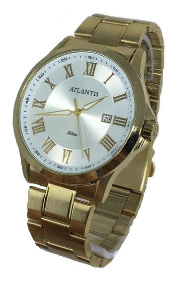 Relógio Masculino Atlantis Romanos Original Doura/prata Luxo