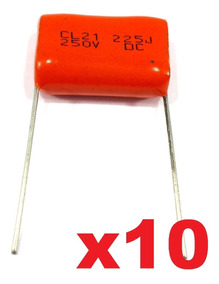 10 Capacitor Poliester 2m2-250v (tweeter)