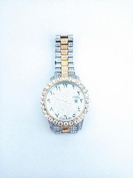 Relógio Masculino Cravejado Diamantes Sintéticos Alto Padrão