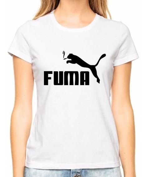 Camiseta Baby Look Poliéster Engraçada Puma Fuma Satiras