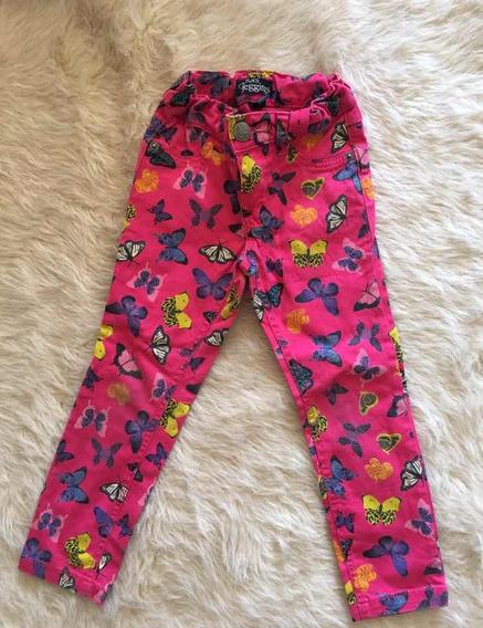 Pantalon Nena Corte Jean Estampado Fucsia Children Place