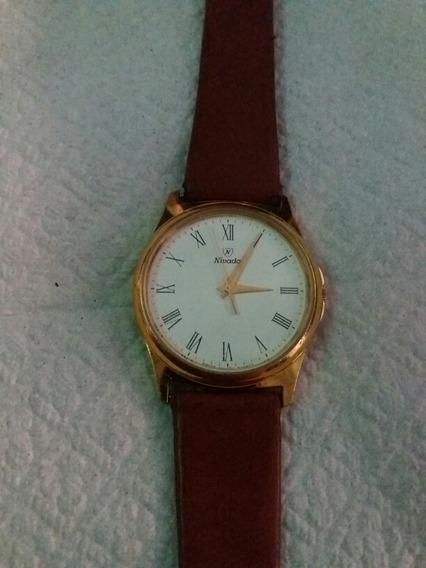 Vendo, Reloj Nivada Swiss Chapa De Oro Quartz Hombre
