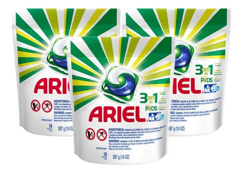 Detergente Lava Roupas Ariel 3em1 Pods - 16 Cápsulas - 3 Un