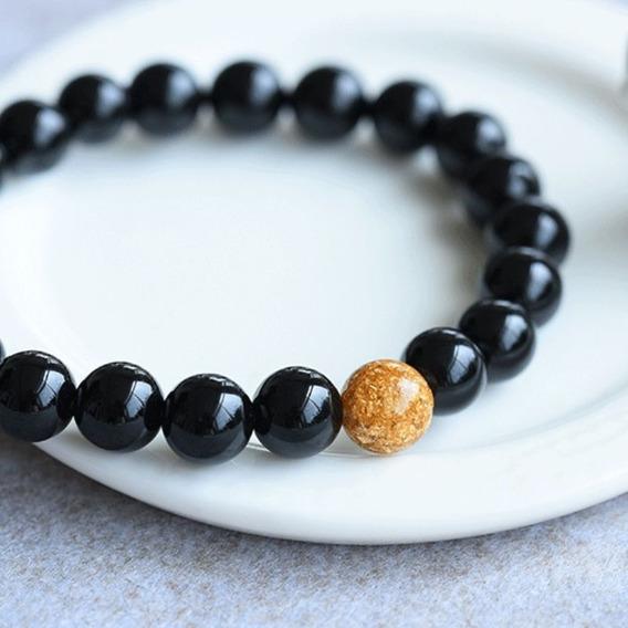 Pulseira Masculina Contas Pedras Naturais Ônix Proteção