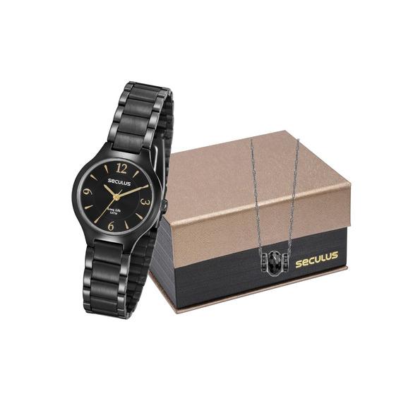 Kit Relógio Feminino Seculus 77017lpsvpa2