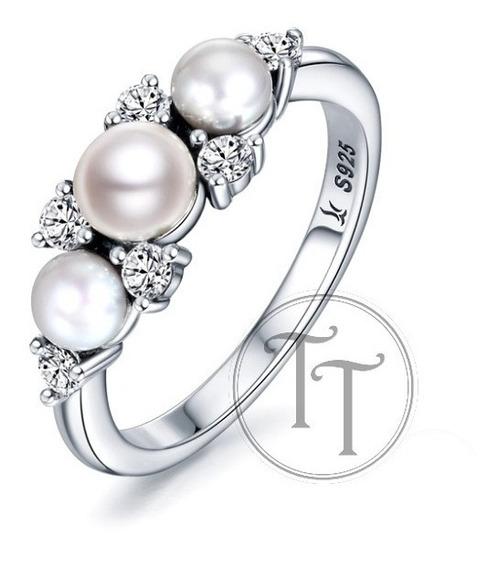 Anillo 3 Perlas Naturales Plata Esterlina 925