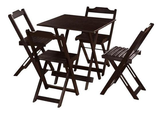 Jogo De Mesa 70x70 4 Cadeiras Madeira Dobrável Bar Lancheria