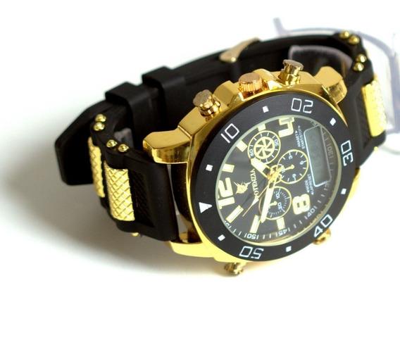 Relógio Luxo Dour/prata Militar Potenzia Barato Top Promoção