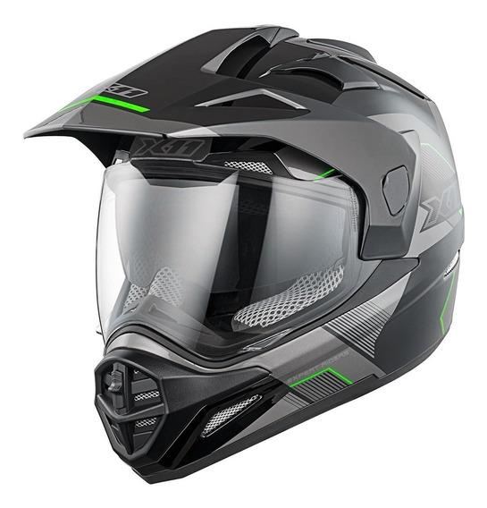 Capacete Motocross X11 Crossover X3 Motociclista Motoqueiro Trilha Cross Moto Off Road Com Viseira Óculos Solar Interno