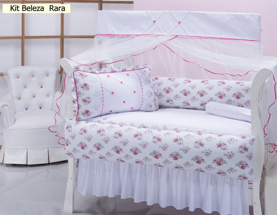 Kit Protetor Berço P/ Menina Rosa 10pçs + Saia De Brinde