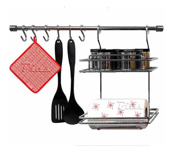 Kit Cocina Cromado Porta Rollo Y Estante + Barral + Ganchos