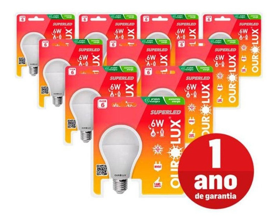 Kit 10 Lâmpadas Led Bulbo E27 Ourolux 6w Branca Casa