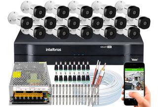 Kit Cftv 16 Câmeras Segurança Intelbras 1010 Dvr 16 Ch Multi