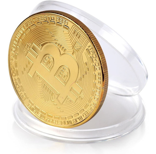 Moneda Conmemorativa Bitcoin Color Oro - Colección.