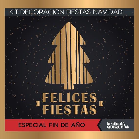 Kit Imprimible Felices Fiestas Negro Y Dorado