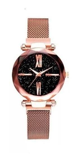 Relógio Céu Estrelado Feminino Rose Pulseira Magnética