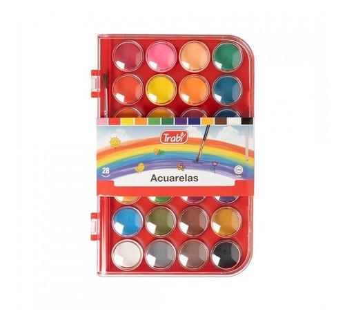 Imagen 1 de 2 de Acuarelas Escolares Trabi X 28 Colores + Pincel + Estuche