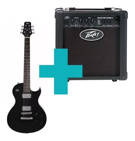 Combo Peavey Guitarra Single Cut Black Sc-1 + Amplificador