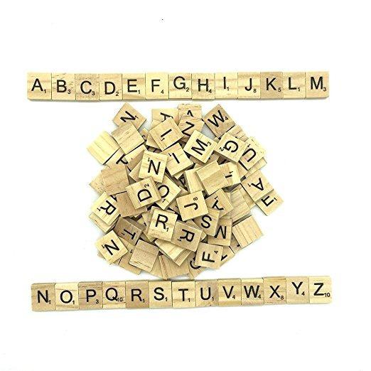 Maggift Azulejos De Madera Del Alfabeto Carta 200 Piezas Azu