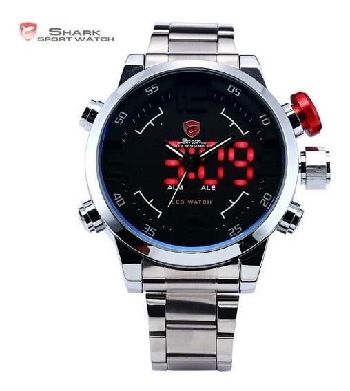 Relógio Shark Original Prata E Preto Led Vermelho
