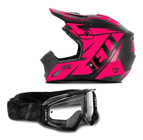 Capacete Motocross Trilha Th1 Jett Evolution + Óculos Blast