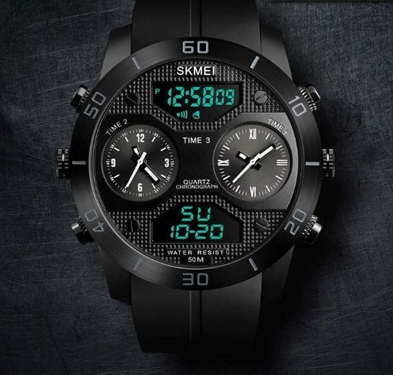 Relógio Masculino Digital E Analogico Prova Agua Skmei 1355